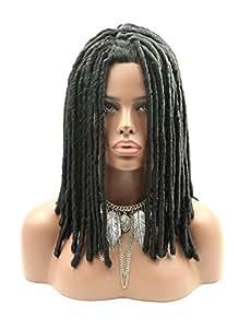 Kalyss Full Dreadlocks African American Hair Wig Long Curly Rolls Twist Braids Premium Synthetic Wigs For Black Women (Natural Black #1)