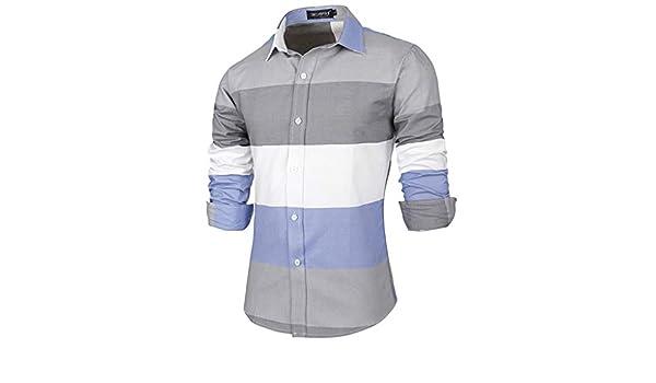 MERICAL - Camisa de Manga Larga de Manga Larga para Hombre Azul S ...