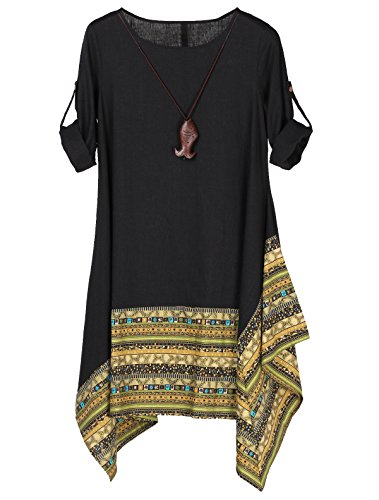 Minibee Women's Ethnic Cotton Linen Long Sleeves Irregular Dress (2XL, Z-Long Sleeve-Black)