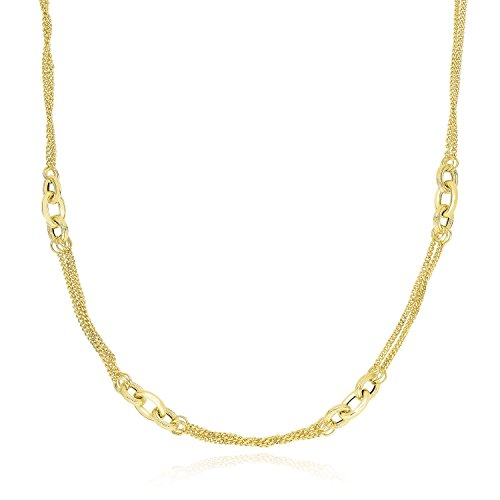 (Mia Diamonds 14k Yellow Gold Multi Chain Strand Necklace with Oval Links)