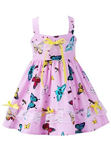 Girls Dress Floral Ruffle Lace Dress Kids Flutter Party Dress Toddler Baby Girl Dress Cold Shoulder Flutter Halter Dress Summer Girl Clothes Sleeveless Boho Sundress Pink Butterfly 01 4-5 Years ()