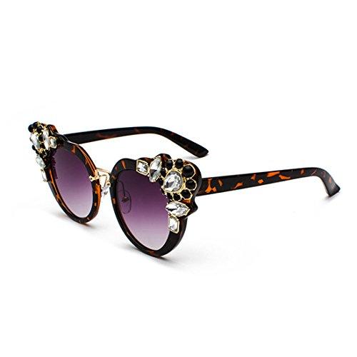Women Oversized Purple con Sunglasses Eye Frame diamante elegante Cat Inlefen Diseño Retro Leopard Sqw7H5Sd