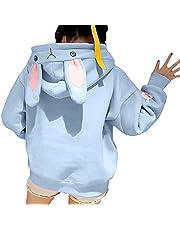 Eogrokerr Schattige capuchontrui voor dames, bunny oor, met capuchon, Kawaii Fuzzy Fluffy Rabbit sweatshirt voor tieners en meisjes