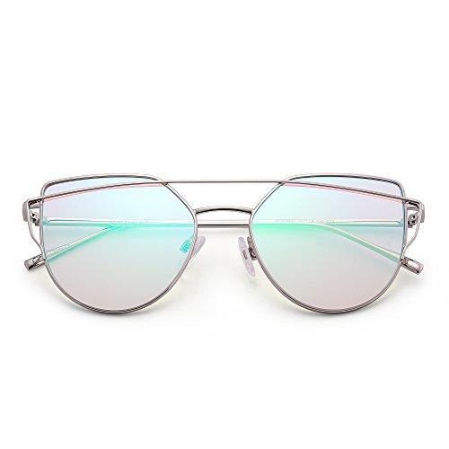 Lentilles avec Twin Chat Miroir Œil Soleil de Femme Argenté Gradient Beams Miroir Homme UV400 Flash Vert de Lunettes x8qvPI