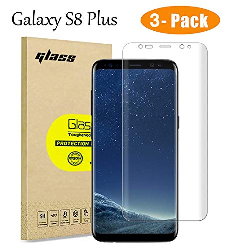[3-Pack] for Samsung Galaxy S8 Plus Screen Protector, Full Coverage Glass HD Tempered Glass Protective Film, [Case-Friendly] High Definition Transparent for 6.2 Inch Samsung Galaxy S8 Plus
