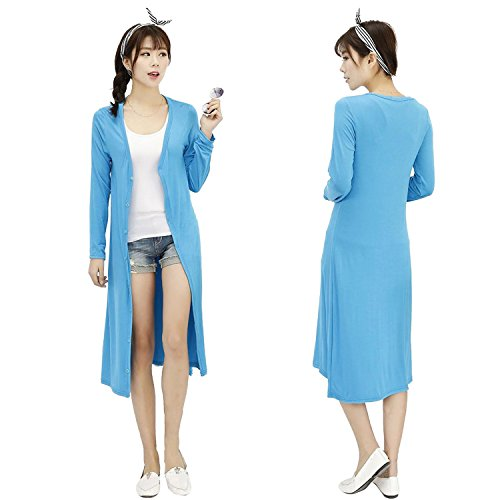 dreamw orldeu Mujer Manga Larga Para Mujer Chaqueta de punto sin Manga Larga/Sudadera/abrigo Outwear–Chaqueta/Abrigo De Punto Loose Chaqueta de punto/sweater Outwear Coat/Long Sleeve Casual azul claro