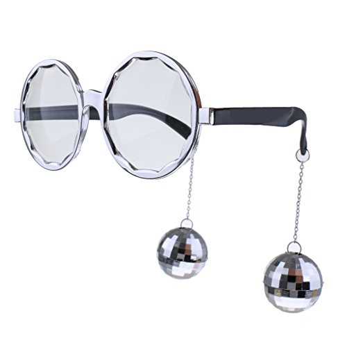 MonkeyJack Hanging Disco Ball Glasses Eyeglasses Spectacles Novelty Gag Gift Photo Prop - Silver, as - Disco Ball Glasses