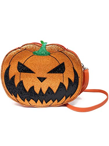 Comeco Halloween Pumpkin Jack O Lantern Glitter Crossbody Bag (Double Sided Jack O ()
