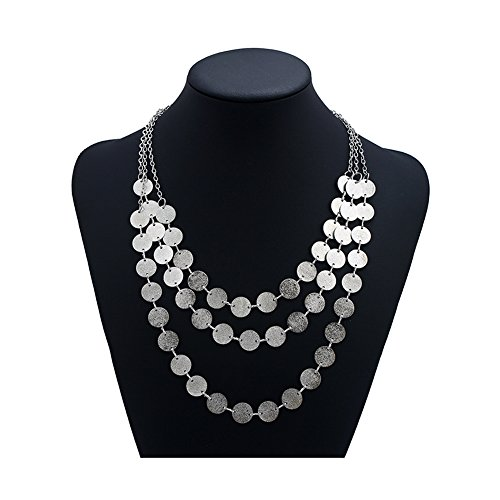- Spiritlele 3 Layers Sequins Disc Choker Coins Chunky Statement Necklace For Women Silver