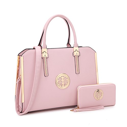 MMK Fashion Handbag for Women Classic Satchel handbag Designer Top handle purse Trending Hobo Tote bag 2 pieces(Handbag/wallet) Set (B-7555-W-Pink)