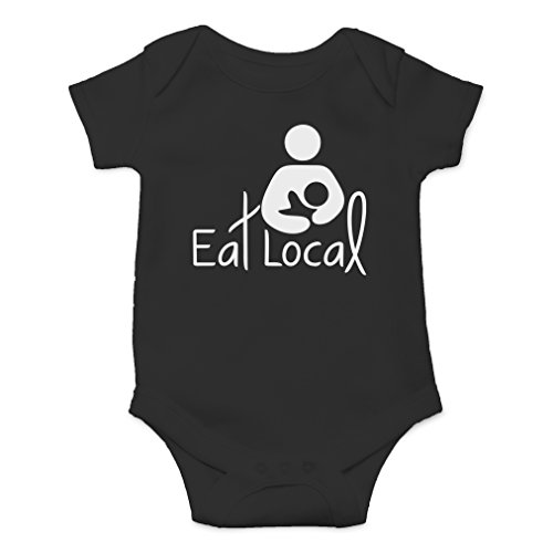 AW Fashions Eat Local- Breastfeeding Cute Novelty Funny Infant One-Piece Baby Bodysuit (6 Months, -