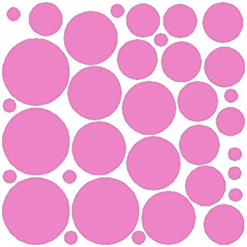 34 Soft Pink Polka Dot Wall Stickers Removable Dot Wall Decals Part 78