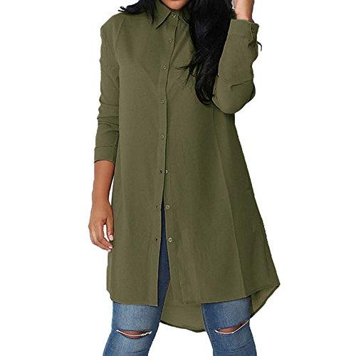 avec Mousseline Manches Blouse Casual Loose Shirt Unie verte arme Mode Longue Tunique Chemise de Soie Boutons Hibote Femme Chemise Robe Mini Longue Pour Loisir Couleur 1HfP0A