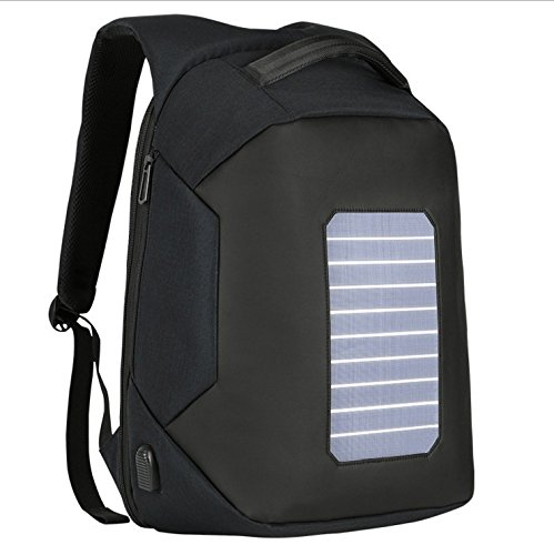 Waterproof Solar Charing Anti-theft 16'' Laptop Backpack ( Color : Black ) by KINGSD