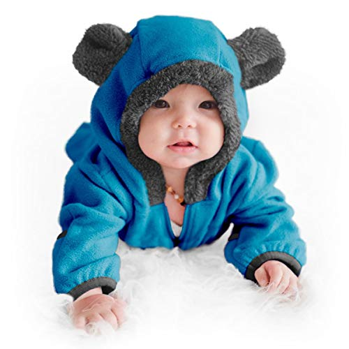 Funzies Baby Bunting Fleece Hooded Romper Bodysuit (BearBlue0-3m)