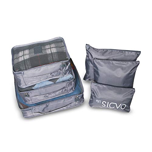 Oacis Life 6 Piece Packing Cubes Set | Travel Storage Bags Waterproof Luggage and Suitcase Organizer