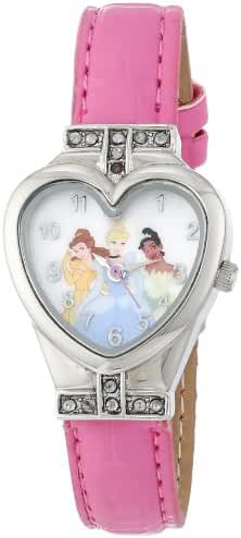 Disney Princesses Kids' PRS492 Heart-Shape Watch with Pink Band