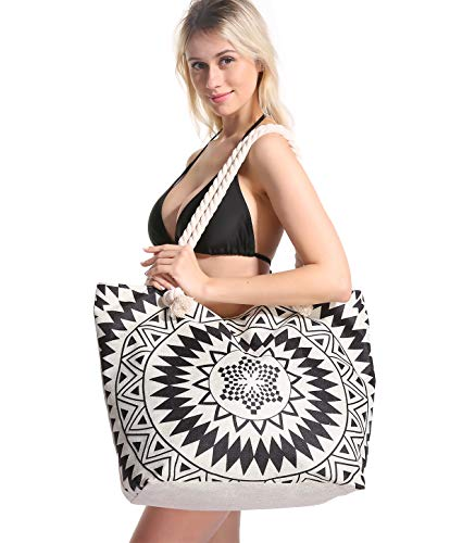 Genovega Women Beach Tote Bag Pool - Extra Large Big Weekender Canvas Cotton Rope Drybag with Zipper Summer (Not Straw Mesh) Tone with Beach Towel Hat Black White Mandala Boho Bohemian -