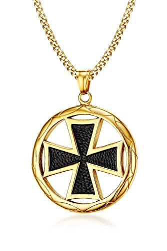 PJ Jewelry 2pcs Stainless Steel Round Medal Medieval Maltese Knight's Cross Pendant Necklace for Men Boy,24