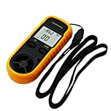 Homyl LCD Digital Anemometer Handheld Wind Speed Meter 0-30m/s for Measuring Wind Velocity, Temperature and Wind Chill, Yellow