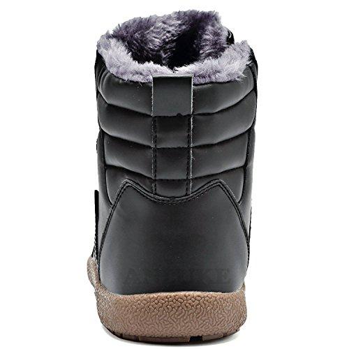 Anluke Mannen Dames Winter Snowboots Hoge Top Waterdicht Outdoor Warme Schoenen Bontvoering Zwart