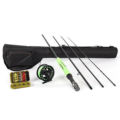 ICEWEI Travel Fly Fishing Rod and Reel Combos 4Piece Fishing Rod Blanks with 5-6wt Fly Fishing Line Weights Trout Salmon Fly Fishing Reels Pole Outfit in Lake Stream Salmon Trout Rod
