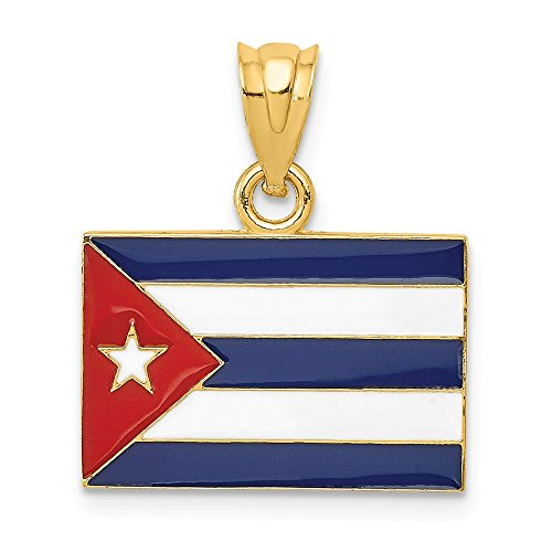 14k Yellow Gold Enameled Cuba Flag Pendant Charm Necklace Travel Transportation Fine Jewelry Gifts For Women For Her ()