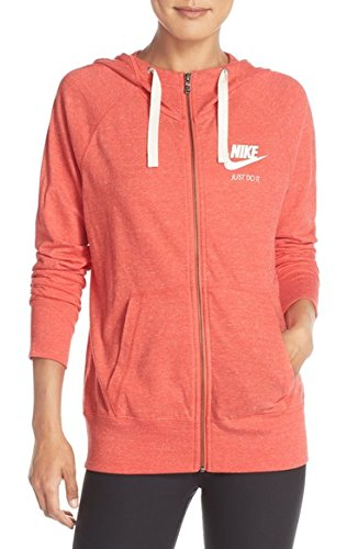 Nike Womens Gym Vintage Full Zip Hoodie Light Crimson/Sail 813872-696 (XL)