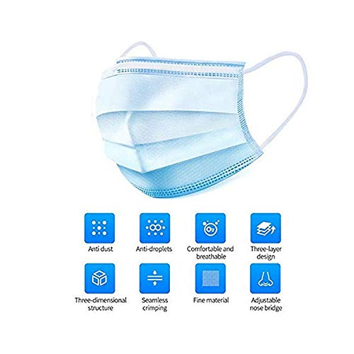 LIHIRONER Disposable 3-Ply Face Earloop Sanitary Masks for Offices-Pack of 50and Outdoor, Blue