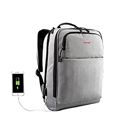 "Seemoi 14"" Laptop Backpack with USB Charging Port Waterproof Travel Bag, Space Grey"