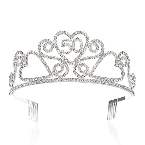 SWEETV Rhinestone Tiara Birthday Crown Princess Party Hat Hair Accessories 15/16/18/21/30/40/50/60/70th Birthday Gift,50th]()