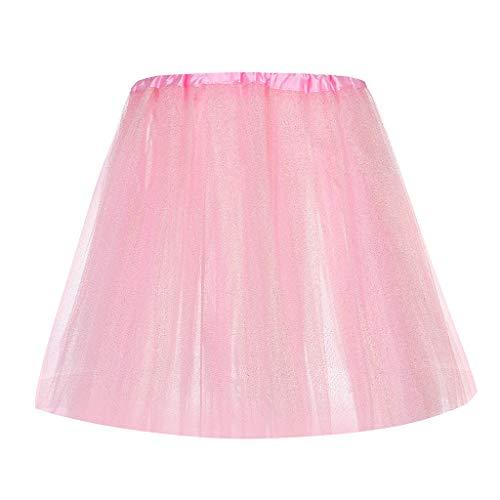 Jialili Women's Sequin Elastic 6 Layered Short Skirt Adult Tutu Dancing Skirt(,Pink)