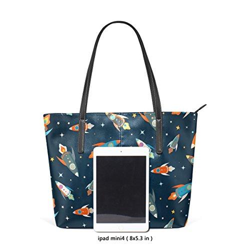COOSUN Colorful Spaceships Pattern PU Leder Schultertasche Handtasche und Handtaschen Tasche für Frauen