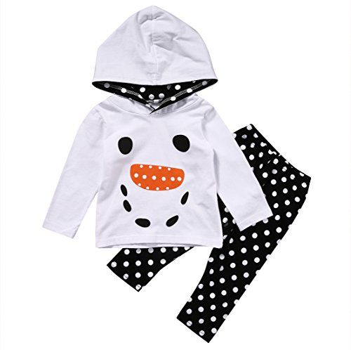 Pants Dot Print Top - Kids Little Girls Christmas Outfit Lovely XMAS Snowman Hoodie Top and Polka Dots Print Pants Set (120(5-6Y), White)
