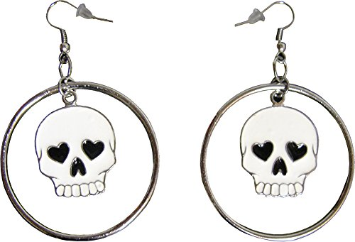 White Skull with Heart Eyes in Silver Colored Hoop Earrings from Sourpuss (Silver Colored Heart)
