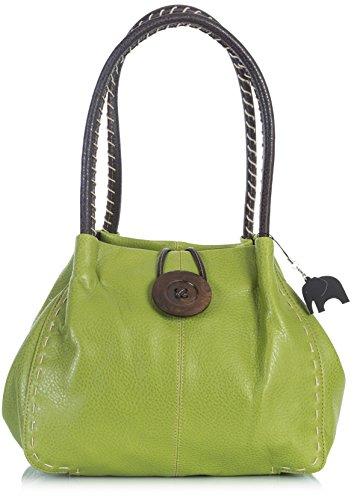 BHSL Designer Boutique Faux Leder groß Button Detail Schultertasche Lindgrün (PU Klasse 4) yHhGJSMSH