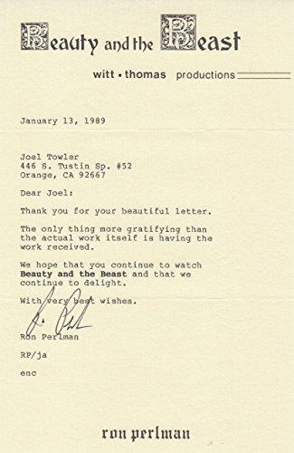 Ron Perlman (Beauty & The Beast) signed typed letter