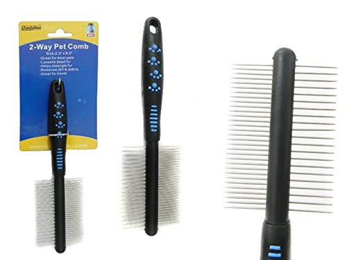 2-Way Pet Comb Size: 2.3'' x 8.5'' , Case of 96