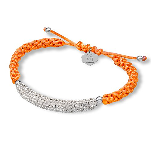 SYRACUSE CRYSTAL BAR BRACELET-STERLING SILVER-SYRACUSE ORANGE BRACELET by Midas Chain