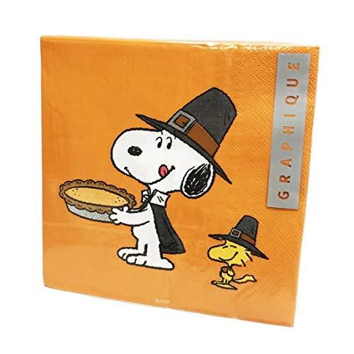 (Snoopy & Woodstock Eating Pumpkin Pie 40 Pack 3 Ply Novelty Happy Thanksgiving Paper Lunch Party Napkins)