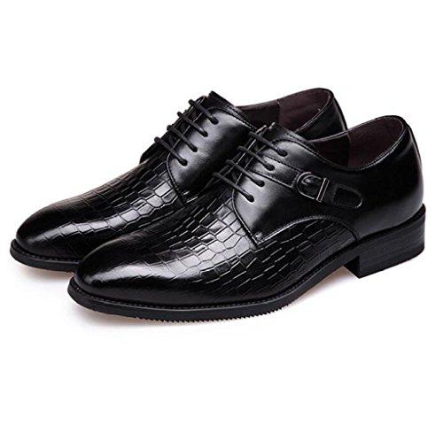 LEDLFIE pour à Chaussures Chaussures en Véritable Cuir Respirant Robe Lacets Black Hommes Affaires rIrZwq