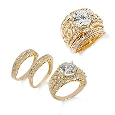 vermeil victoria wieck absolute wedding ring or band 3 piece set size 5 gold over - 3 Piece Wedding Ring Sets