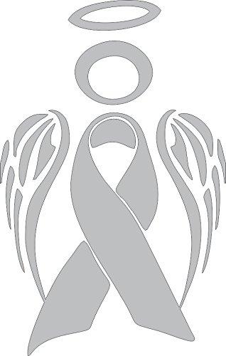 Barking Sand Designs Grey Silver Brain Cancer Angel Ribbon Awareness - Die Cut Vinyl Window Decal/Sticker for Car/Truck