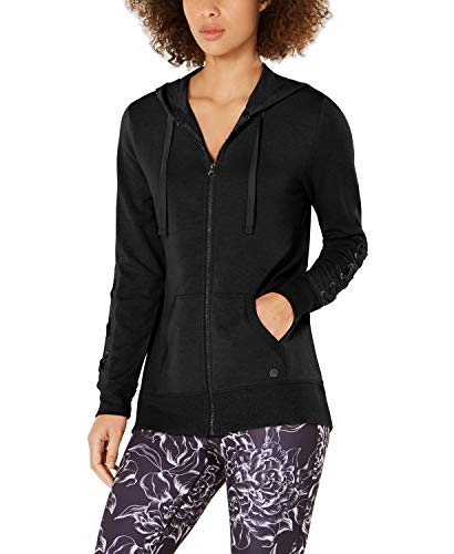 Ideology Lace-Up Sleeves Drawstring Hoodie Full Zip Jacket (Noir, Large) (Fit Full Zip Hoodie Flex)