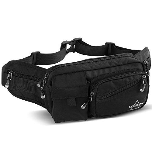 Price comparison product image MOSSLIAN Fanny Pack.Multiple Packs Waist Pack- 6 packs, large size Bum Bag, Waterproof Nylon.Fashion Belt Bag for men&women,  Perfect for Festival,  Travel, Running, Hiking
