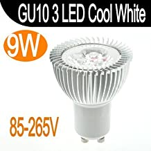 9W 3x3W GU10 Cree 3 LED Spot Light Cool White Bulb Lamp 110V/220V Energy Saving Fedex free(White/3w)