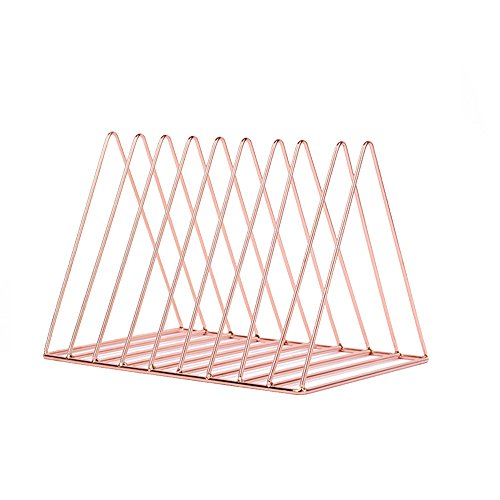 Triangle Metal Desk Book Holder Document File Rack Desktop Newspaper Magazine Holder for Office Heave Duty Organizer,9 Slot,Rose Gold by ANTIMAX
