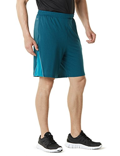 TM-MBS03-DGN_Large Telsa Men's Athletic Training Shorts Active HyperDri III w Pockets - Shorts Slim Training