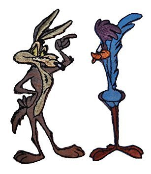WILE E COYOTE & ROADRUNNER 2 Piece Set Embroidered PATCHES (Looney Tunes Iron On Patches)