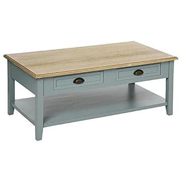 table basse campagne 4 tiroirs en bois gris damian